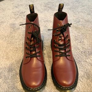 Dr Martens Luana Burgundy Red Leather Combat Boot